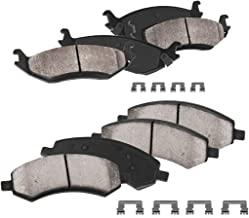 CPK11124 FRONT + REAR Performance Grade Quiet Low Dust [8] Ceramic Brake Pads + Dual Layer Rubber Shims + Hardware
