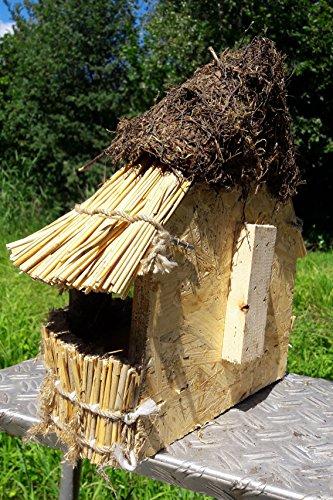 """Vogelfutterhaus mit Reetdach und Heidekappe, """"Heidehütte zum Aufhängen"""" - 2"""