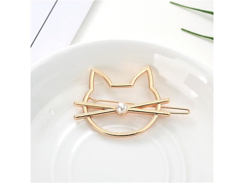 ふさわしい側戻すOsize 美しいスタイル 子猫クリップワンワードヘアピンサイドクリップヘアピンヘアアクセサリー(ゴールデンパールキャット)