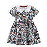 FILOWA Kleid für Mädchen Kinder Kurzarm Kleid Baby Mädchen Blumen Bunt Mit Kragen Sommer Party Kleid Prinzessin Mädchenbekleidung Casual Baumwolle...