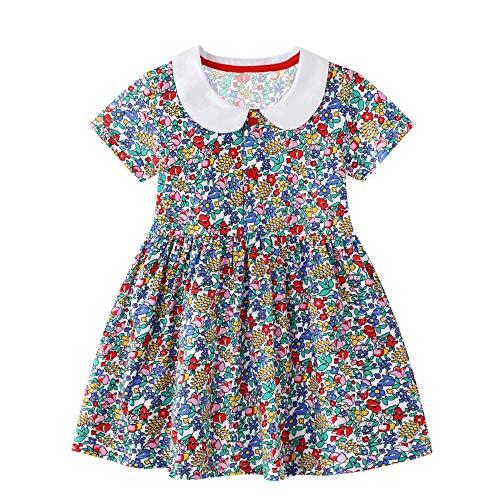 FILOWA Toddler Girls Dress Flowers Floral Print T-Shirt Dress with Collar...
