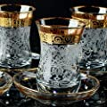 Vintage Turkish Tea Glasses Cups Saucers Set of 6 for Women Serving Drinking Decorative Housewarming Gift Party Espresso Crystal Tray Glassware Teapot Kettle 3.45 oz - 100 ml (Art Decor3)