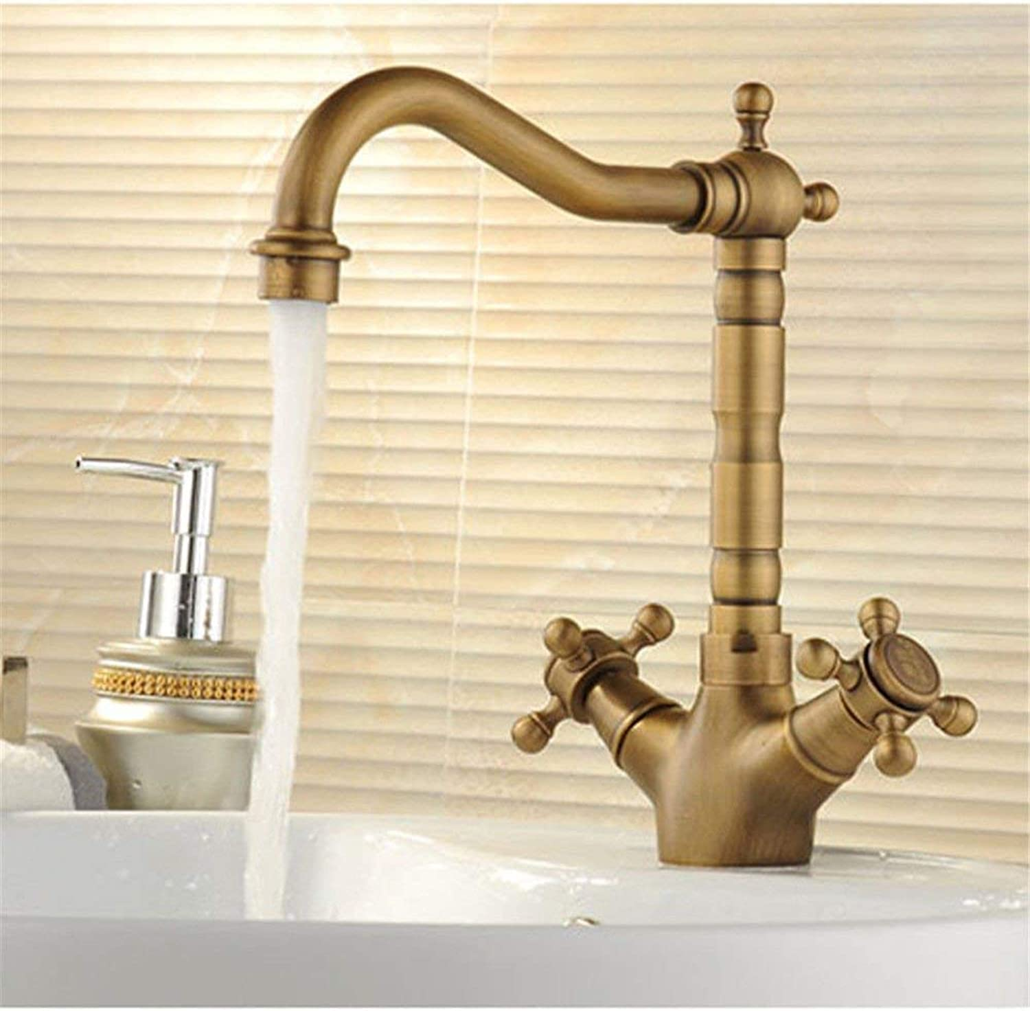 FERZA home Sink Mixer Tap Bathroom Kitchen Basin Water Tap Leakproof Save Water Basin-Wide Antique Copper Cold Water Bathroom Sink B (color   A)