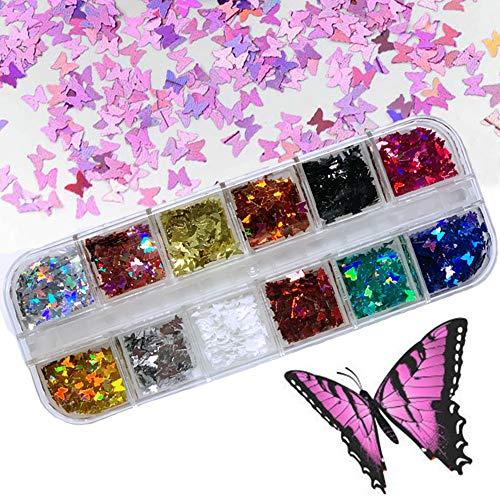 Kalolary 12 Farbe 3d Schmetterling Glitzer Nägel Glitzer Sequin Chunky Glitter Schmetterling Nagel Pailletten Nail Art Flake Nail Glitter DIY Decals Dekoration für Gesicht Körper Augen