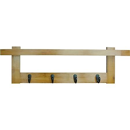 Box and Beyond Porte-Manteaux Yaka en Bambou et métal - 5 Crochets / 1 étagère - A Fixer au Mur - Naturel/Noir - 56x12x18cm