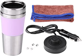 350ml 12V Electric Car Cup Travel Heating Mug, Keenso Stainless Steel Electric Kettles Boiling Car Coffee Mug Heater with Cigarette Lighter (Pink)