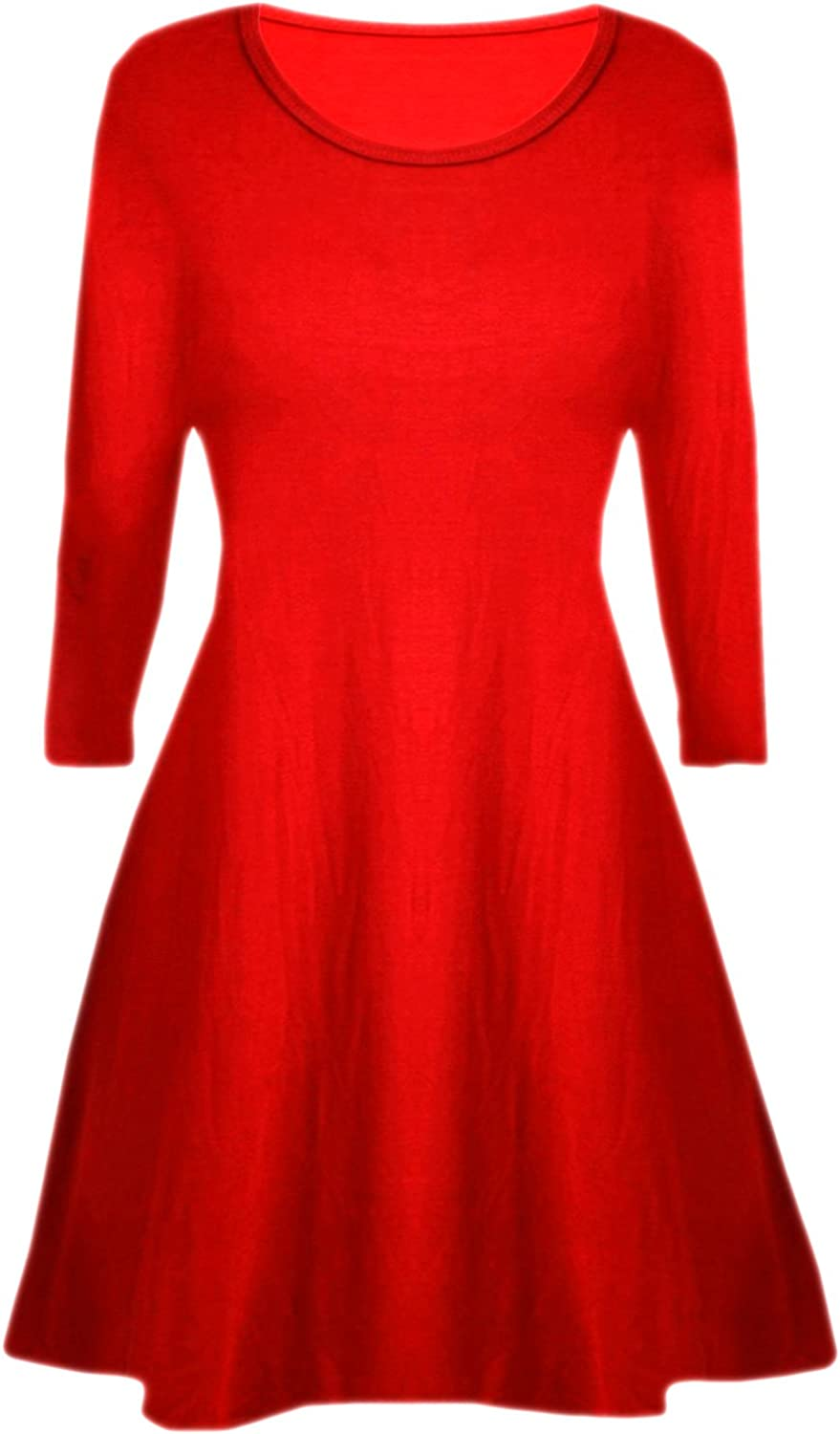Ladies Women/'s Stretch A Line Skater Flared Swing Dress Long Sleeve Top UK 8-26