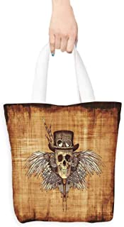 Skull Handbags Cool Skull Icon on Parchement Background Retro Style Dead on Eagle Wings Gothic Foldable 16.5