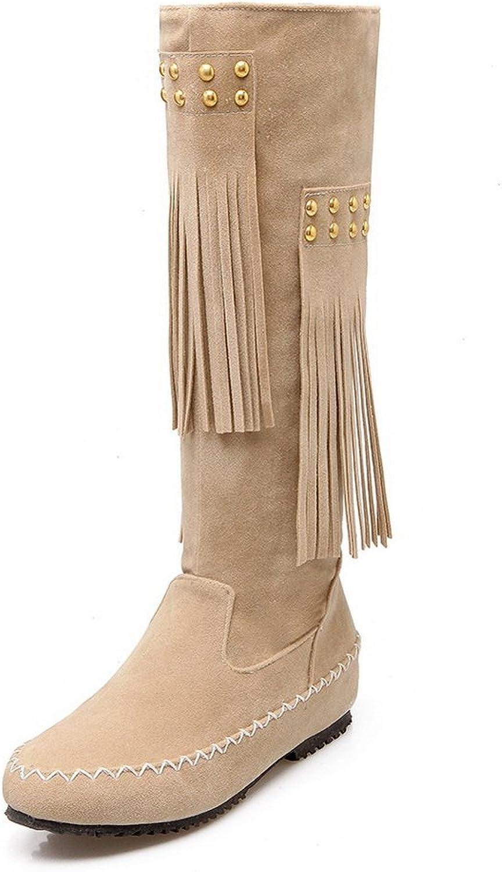 BalaMasa Womens No-Closure Solid Comfort Polartec-Fleece Boots