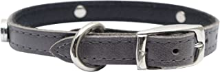 Dogit Leather Style Dog Collar with Buckle and Pewter Flower Charm, 12-Inch,Gray