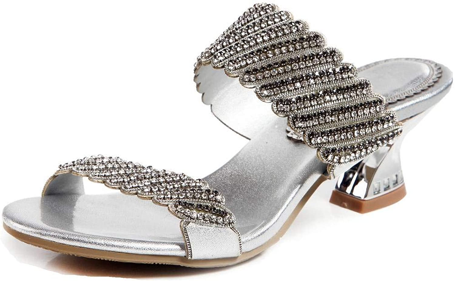 LizForm Women Open Toe Dress Party Leather shoes Glitter Studded Slip On Casual Sandals