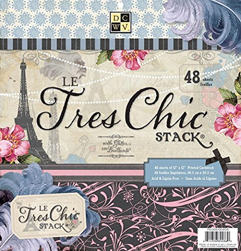 DCWV Premium Stacks, Le Tres Chic with Glitter, 48 Sheets, 12 x 12 inches