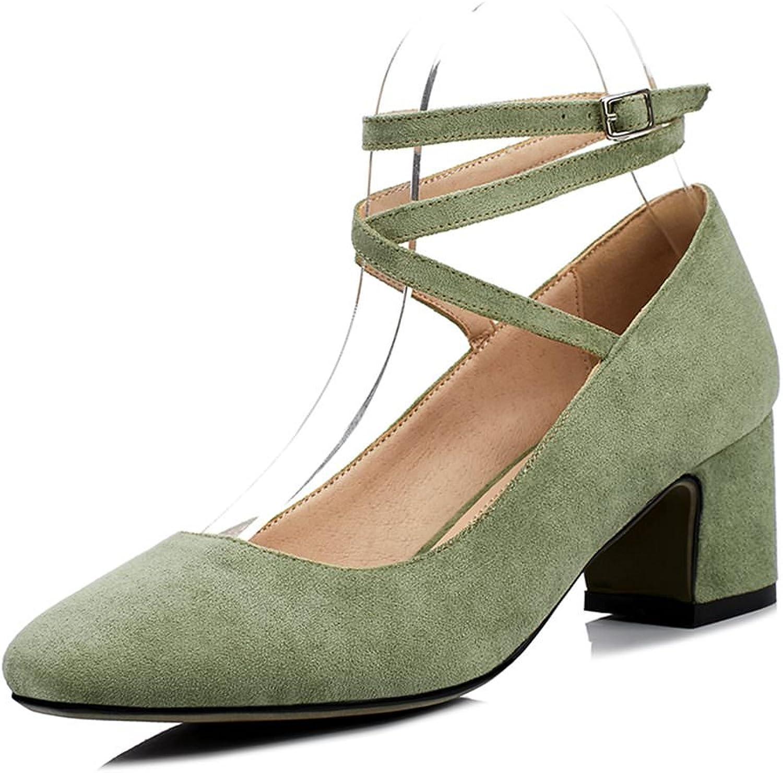 DecoStain Women's Chunky Heel Ankle Strap Pumps