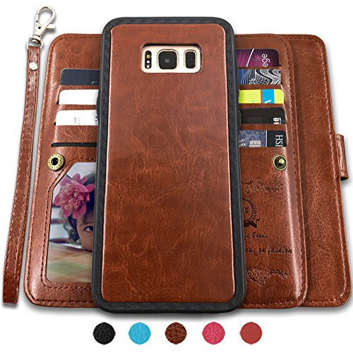 CASEOWL Galaxy S8 Cases,Magnetic Detachable Lanyard Wallet Case with [8 Card Slots+1 Photo Window][Kickstand] for Galaxy S8-5.8 inch, 2 in 1 Premium Leather Removable TPU Case(Brown)