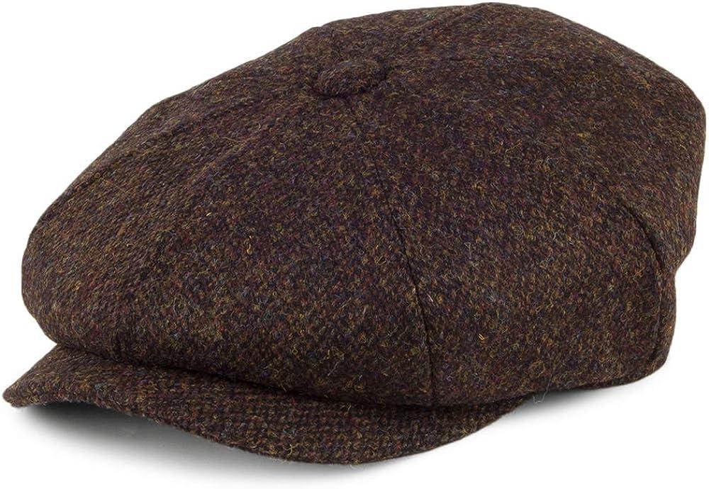 Edwardian Men's Fashion & Clothing 1900-1910s Jaxon & James Harris Tweed Arnol Newsboy Cap - Moss-Brown £29.95 AT vintagedancer.com