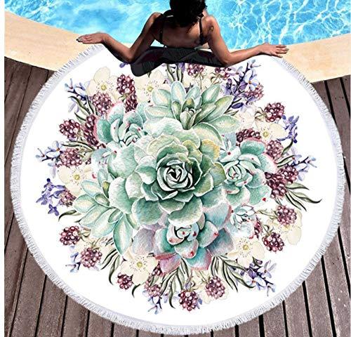 Vanzelu Plant Gedrukt Grote Ronde Strandhanddoek Voor Volwassenen Microvezel 150x150cm Zomer Zwemkleding Vrouwen Grote Strand Cover Up Badhanddoek Mat Picknic Mat Outdoor