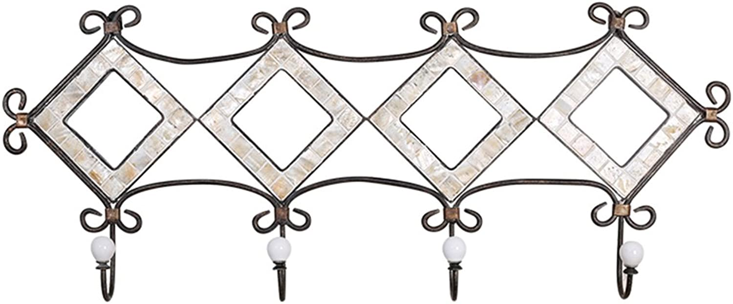 Coat Hook Nordic Iron Creative Hanger Porch Decorative Hook Strong Bearing Not Fading White Shell Glass Combination Decorative Hook Household