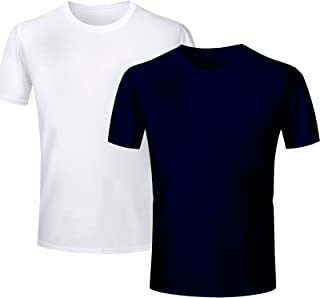 T Shirt - Half Sleeve Round Neck Plain 100% Cotton T Shirt - White and Navy Blue Colours 2 pcs Combo Half Hand Round Neck ...