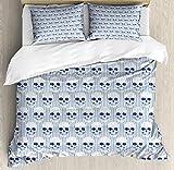 ABAKUHAUS Geométrico Funda Nórdica, Calaveras Azules opticas, 2 Fundas para Almohada Set Decorativo de 3 Piezas, 264 X 220 cm, Azul Marino Blanco