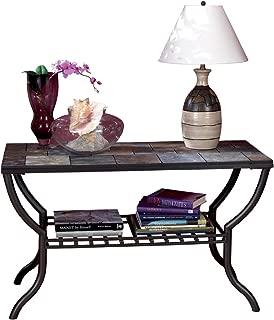Ashley Furniture Signature Design - Antigo Sofa Table with Console - Slated Top with Metal Bottom - Contemporary - Black