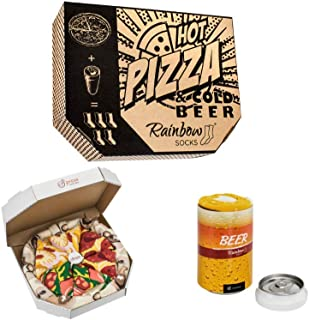 Rainbow Socks, Hombre Mujer Calcetines Pizza y Cerveza Box Regalo - 5 Pares