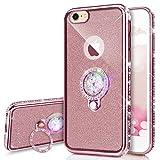 Kompatibel mit iPhone 6S / 6 Hülle,JAWSEU [Ring Ständer Halter] Glänzend Glitzer Kristall Strass TPU Silikon Hülle Bumper Case Rückseite Handyhülle Tasche Etui Schutzhülle für iPhone 6/6S,Rosa Pink