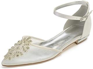 ab7c25b74c SERAPH 5047A-1 Mujer Correa de Tobillo Satín Bailarinas D'orsay Pumps Plano  Zapatos