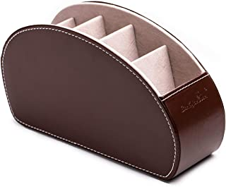 $29 » Office Desk Organizer Desk Storage Box with 5 Compartments Table Organizer Leather with Mobile Phone Support for Remote Control Makeup Brush Gift Box (2Dark Brown)