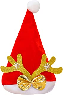 Adult Child Christmas Hat Antler Fashion Bow-Knot Christmas Role Playing Holiday Xmas Cap