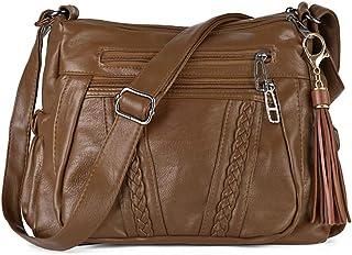 Crossbody Bags For Women Pocketbooks Soft PU Leather Purses and Handbags Multi Pocket Shoulder Bag