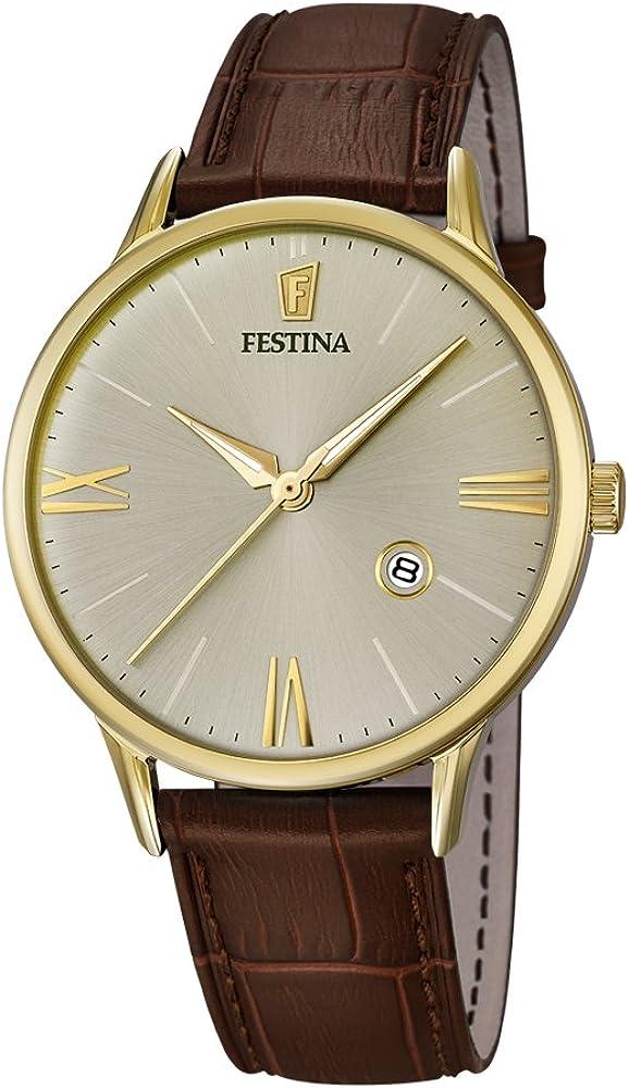Festina orologio analogico da uomo con cassa in acciaio inossidabile placcato oro e cinturino in vera pelle F16825/2