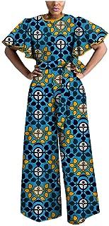 African Print Women Jumpsuit Tailor Made Butterfly Sleeve Wide Leg 100% Batik Cotton Made AA1829009