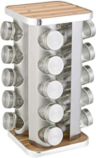 Data Deer Square 20 Empty Jars Spice Rack Organizer for Cabinet and Adjustable Spice Rack With 113 Preprinted Chalkboard L...