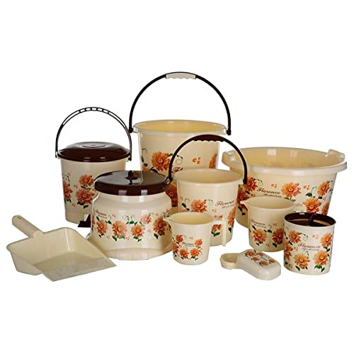 Aarohi13 Modwell Plastic Bath Set, 10 Pieces Jumbo (Brown)