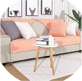 Summer Sofa Cushion Single Three-Seater Four Seasons Cotton Non-Slip Universal sofacover Combination Set Grid Sofa Towel,Pink,70150cm