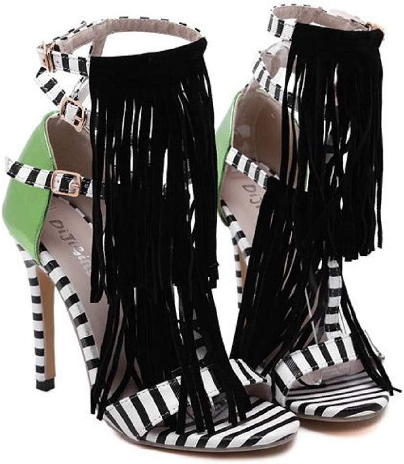 JQfashion Ladies High-Heeled Sandals Striped Fringed Roman shoes Pointed Thin Heels