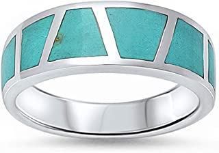 Half Eternity Green Simulated Turquoise Inlay Wedding Band Ring 925 Sterling Silver
