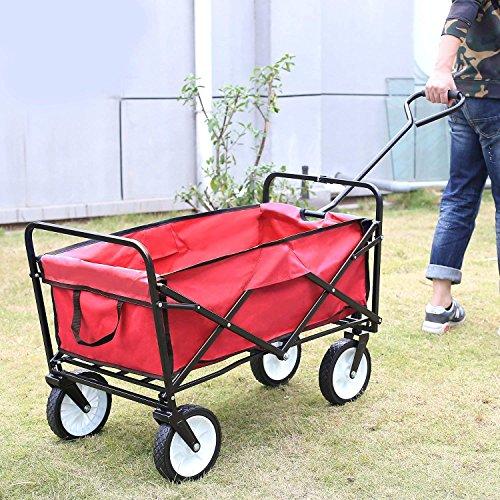 Homfa Garden Cart Trolley Foldable Pull Wagon Folding Trolley Camping Trolley on wheels Heavy Duty Wagon Hand Cart Festival Trolley Outdoor 80Kg (Red)