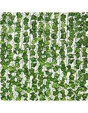 12 st konstgjord murgröna, falska vinranka grön planta löv hängande bladkrans för bröllopsfest trädgårdsdekoration, landskapsgestaltning staket väggdekoration