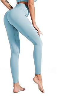 ulsfaar Women Running Sports Fitness Leggings Smocked High Waist Squat Proof Yoga Pants