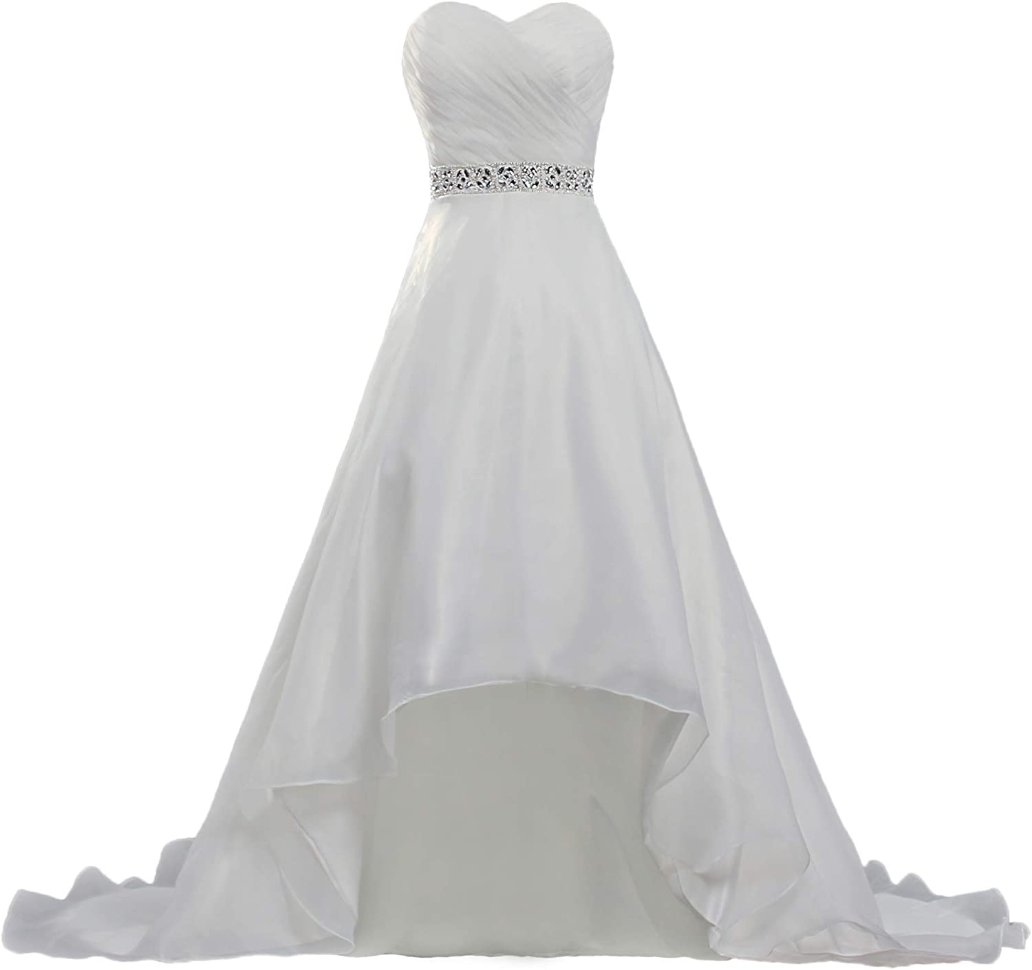 ANTS Women's Bead Short Front Long Back Bridal Wedding Dresses Gown