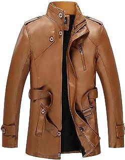 Insunny ☀ Men's Autumn Winter Fashion Velveted Zipper Pure Color Imitation Leather Coat