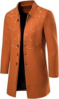 Winwinyou Men's Single Breasted Embroidered Slim Fit Stand-up Collar Woolen Coat