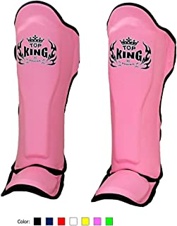 KINGTOP Top King Muay Thai Shin Pads TKSGP GL Shin Guards Pro Genuine Leather - Black White Red Blue Green Pink Size: S M ...