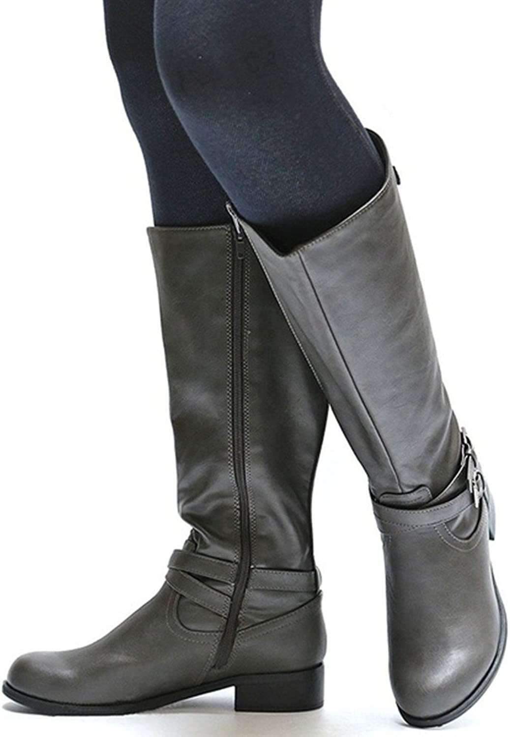 Cicy Bell Womens Winter Knee High Boots Wide Calf Chunky Combat Military Buckle Side Zip Booties