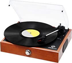 Vinyl Record Player, JORLAI Vintage Turntable 3-Speed Record Player with Speakers, MP3 Recording, RCA Output, 3.5mm AUX Input, Volume Control - Wood