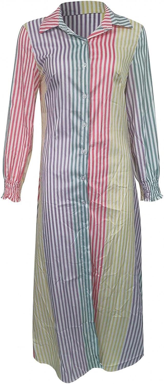 Oiumov Womens Summer Dress Button Down Roll Up Long Sleeve Sexy V-Neck Print Lace-Up Dress T-Shirt Sundresses for Women