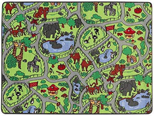 Primaflor - Ideen in Textil Spielteppich Kinderteppich Zoo Safari Straßenteppich - 140 x 200 cm, Spielmatte, Anti-Schmutz-Schicht, Kinderzimmer-Teppich mit Straßen und Tieren für Jungen & Mädchen