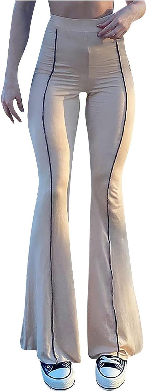 MIASHUI Flare Pants for Women Women High Wide Leg Trousers Bell Bottom Casual Pants for Women