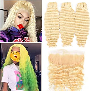 613 Bundles with Frontal Peruvian Hair Honey Blonde Deep Wave Human Hair Bundles with Lace Frontal with Baby Hair Transparent Lace Color Remy Hair Can Be Dyed (161616+14 inch, 613 deep wave)